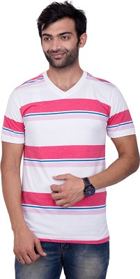 YOUTH & STYLE Striped Men's Fashion Neck White T-Shirt