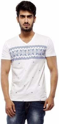 Trendy Bandey Printed Men's V-neck White T-Shirt