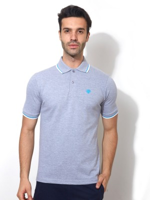 Smugglerz Solid Men's Polo Neck Grey T-Shirt