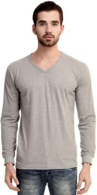 Mimoda Solid Men's V-neck Grey T-Shirt