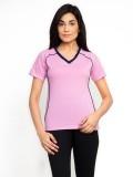 Fabtag Solid Women's V-neck Pink T-Shirt