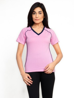 Fabtag Solid Women's V-neck Pink T-Shirt