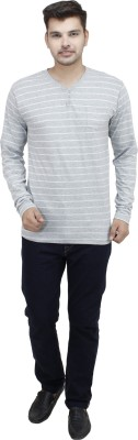 Feels Good Striped Men's Henley Grey T-Shirt