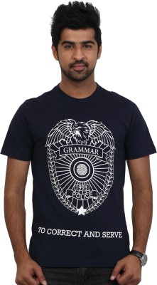 Police Printed Men's Round Neck Dark Blue T-Shirt