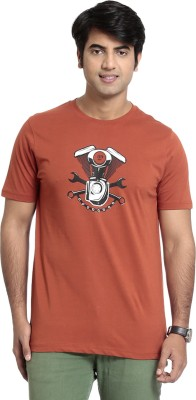 SEVEN Solid Men's Round Neck Brown T-Shirt