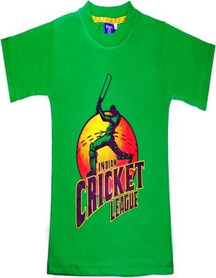 Sweet Angel Printed Boy's Round Neck Green T-Shirt