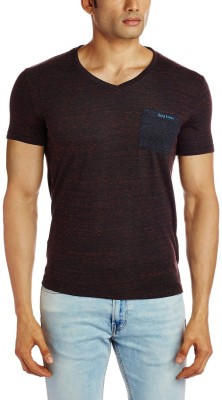 Being Human Clothing Solid Men's V-neck Black, Red T-Shirt