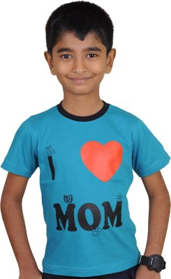 Kissing Kids Printed Boy's Round Neck Blue T-Shirt