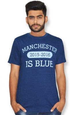 Manchester City FC Printed Men,s Round Neck Dark Blue T-Shirt