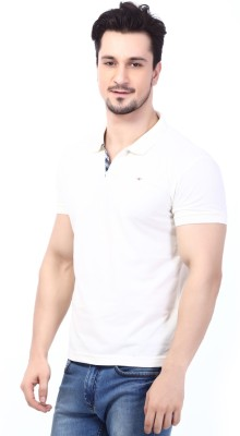 Rugby Solid Men's Polo Neck White T-Shirt