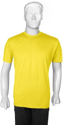 SelfieSeven Solid Men's Round Neck Yellow T-Shirt