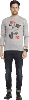 Cali Republic Printed Men's Round Neck Grey, Black, Red T-Shirt