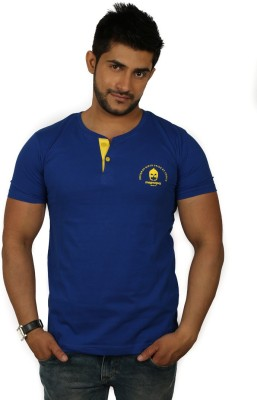 Magnoguy Solid Men's Henley Blue, Yellow T-Shirt