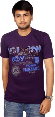 AADUKI Printed Men's Round Neck Purple T-Shirt