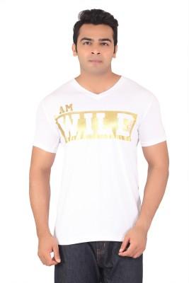 Radbone Printed Men's V-neck White T-Shirt
