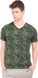 Breakbounce Printed Men's V-neck Green T...