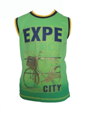 Enos Printed Boy's Round Neck Green T-Shirt