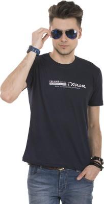 Okane Printed Men's Round Neck Dark Blue T-Shirt
