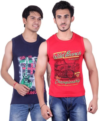 White Moon Printed Men's Round Neck Blue, Red T-Shirt