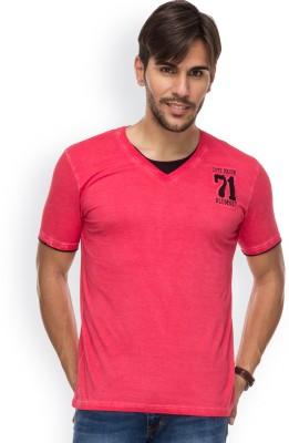 Blue Monkey Self Design Men's Fashion Neck Red T-Shirt