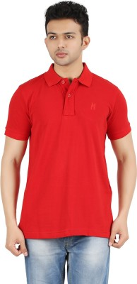 Maniak Solid Men's Polo Neck Red T-Shirt