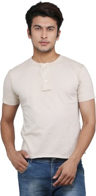 Chinese Solid Men's Round Neck Brown T-Shirt