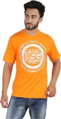 CHECKERSBAY Printed Men's Round Neck Orange T-Shirt