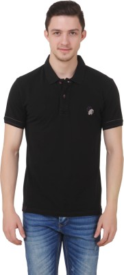 Roar and Growl Solid Men's Polo Neck Black T-Shirt