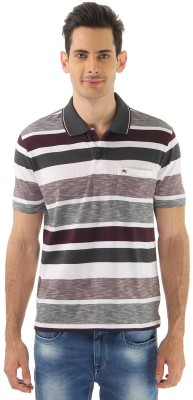 Monte Carlo Striped Men's Polo Neck Brown, White T-Shirt