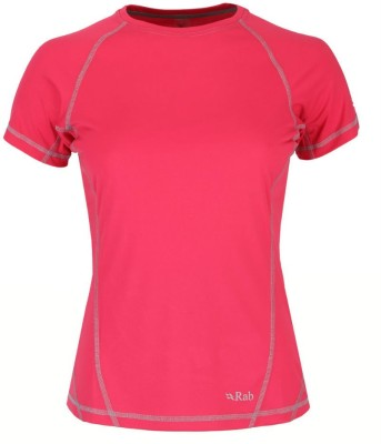 Rab Solid Women's Round Neck Red T-Shirt