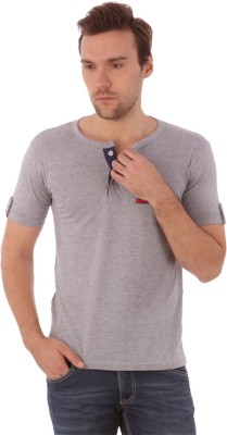 Campus Sutra Solid Men's Henley Grey T-Shirt