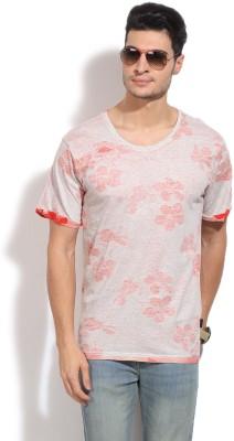 Indicode Printed Men's Round Neck Grey, Red T-Shirt