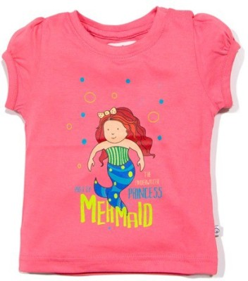 Solittle Graphic Print Girl's Round Neck Pink T-Shirt