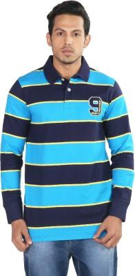 Provogue Striped Men's Polo Neck Dark Blue T-Shirt