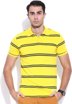 United Colors of Benetton Striped Men's Polo Neck Yellow, Dark Blue T-Shirt