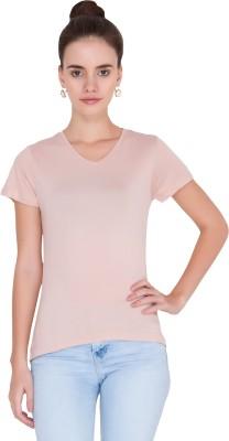 Alibi Solid Women's V-neck Pink T-Shirt