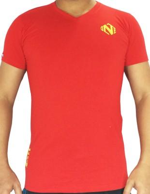flamingo Solid Men's V-neck Red T-Shirt