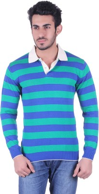 Dezyn Striped Men's Polo Neck Blue, Green T-Shirt