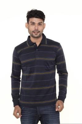 Gleneagles Striped Men's Polo Neck Blue T-Shirt