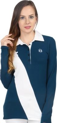 Oriel Merton Solid Women's Polo Blue, White T-Shirt
