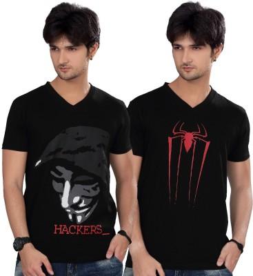 Elegance Cut Printed Men's V-neck Black T-Shirt