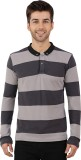 Nick & Jess Striped Men's Polo Neck Grey...