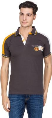 V9 Self Design Men's Polo Neck Grey T-Shirt