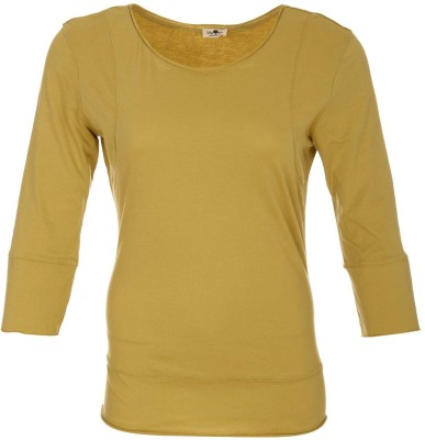 A33 Store Solid Women's Round Neck Yellow T-Shirt