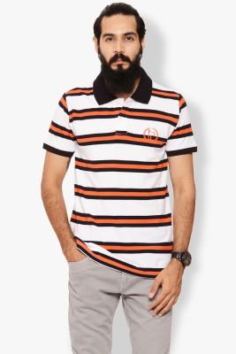 Italian Polo Striped Men's Polo Neck Pink T-Shirt