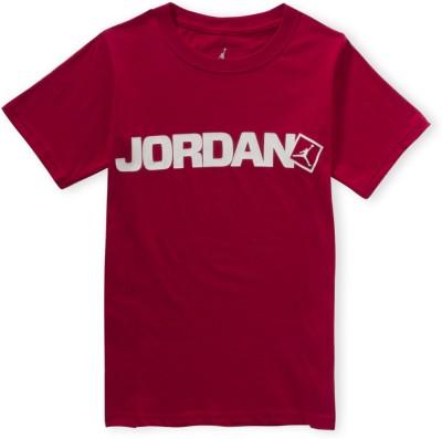 Jordan Kids Graphic Print Boy's Round Neck Red T-Shirt