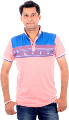 All Ruggby Printed Men's Polo Neck Pink T-Shirt