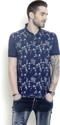 Metal Gear Printed Men's Polo Neck Dark Blue T-Shirt