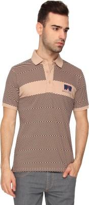 Crocodile Chevron Men,s Polo Neck Beige T-Shirt