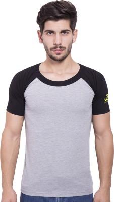 Jangoboy Solid Men's Round Neck Grey, Black T-Shirt
